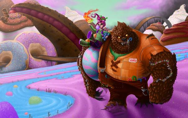 Фото обои медведь, девочка, lol, League of Legends, Annie, Dark Child