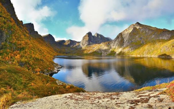 Фото обои Небо, Вода, Природа, Облака, Фото, Горы, Трава