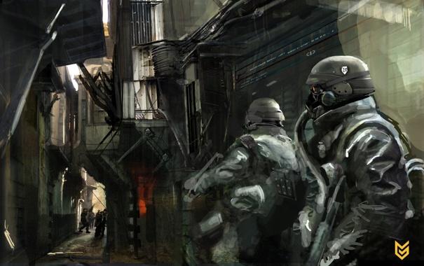 Фото обои солдаты, люди, маски, Killzone 2, игра, улица, оружие
