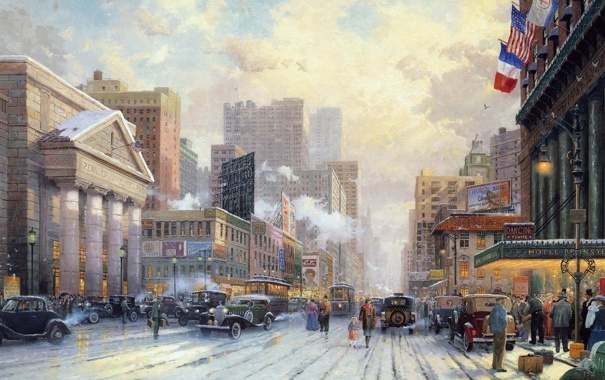 Фото обои зима, авто, рисунок, здания, Нью-Йорк, 20 век