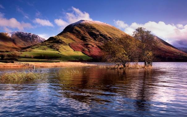 Фото обои пейзаж, озеро, гора