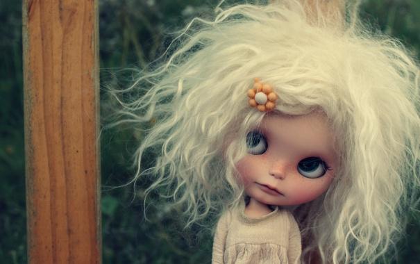 Фото обои лицо, настроение, волосы, игрушка, кукла, блондинка
