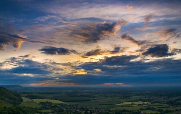 Фото обои небо, облака, пейзаж, природа, холмы, поля, горизонт