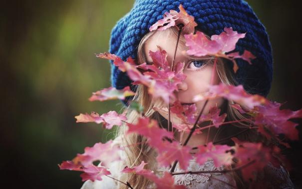 Фото обои листья, девочка, шапочка, боке
