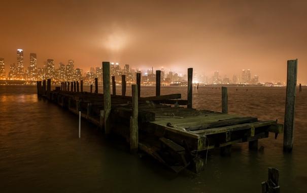 Фото обои night, new york city, pier, hudson river, weehawken, Disconnected