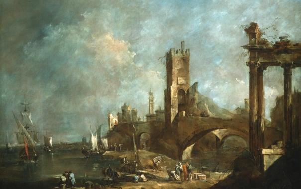 Фото обои люди, корабль, картина, развалины, francesco guardi, veduta