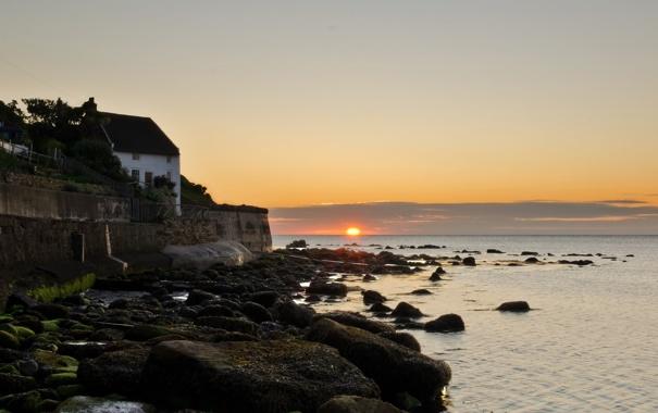 Фото обои море, небо, пейзаж, дом