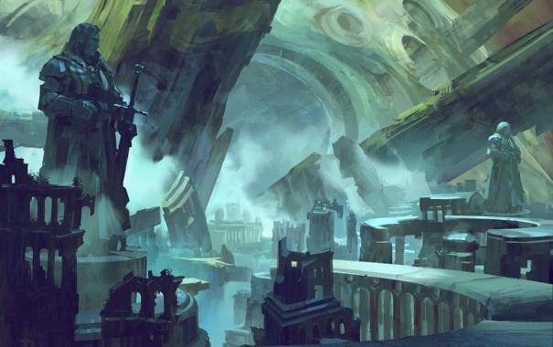 Фото обои дорога, город, скалы, меч, арт, статуя, руины