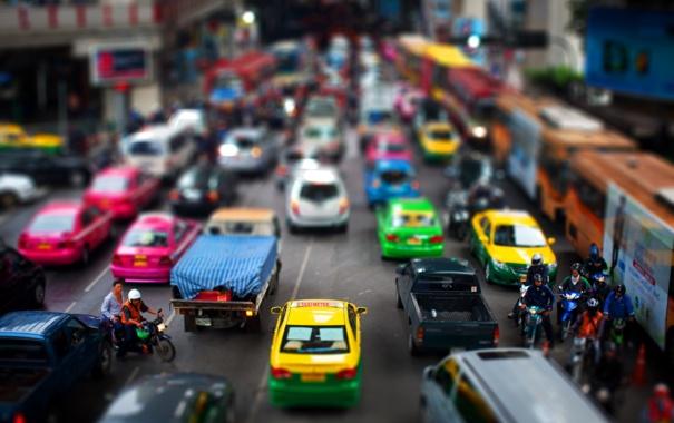 Фото обои машины, город, движение, транспорт, дома