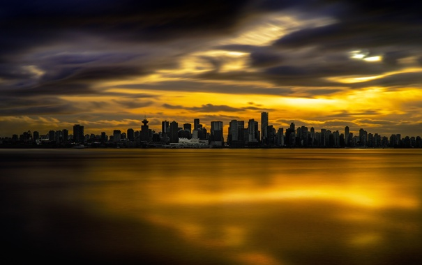 Фото обои город, дома, вечер, панорама, Vancouver