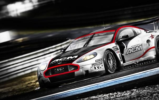 Фото обои гонка, скорость, Aston martin, трек, dbr9