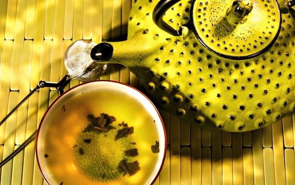 Обои картинки фото чайник, exotic tea, желтый