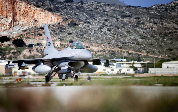 Фото обои Горы, Самолет, Истребитель, Серый, День, США, ВВС