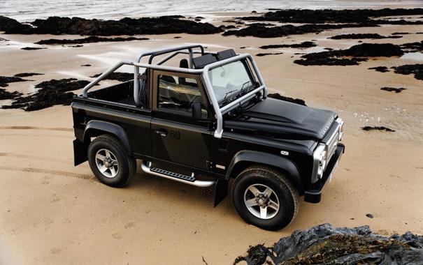 Фото обои Песок, Море, Пляж, Волны, Камни, Великобритания, Land Rover