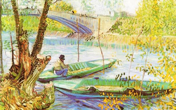 Фото обои небо, пейзаж, мост, река, лодка, картина, рыбак