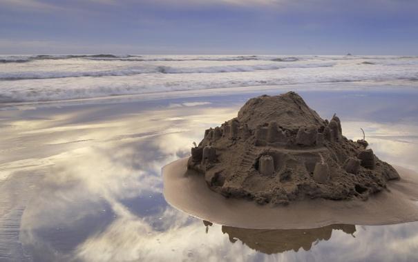 Фото обои песок, море, волны, берег, Морской пейзаж