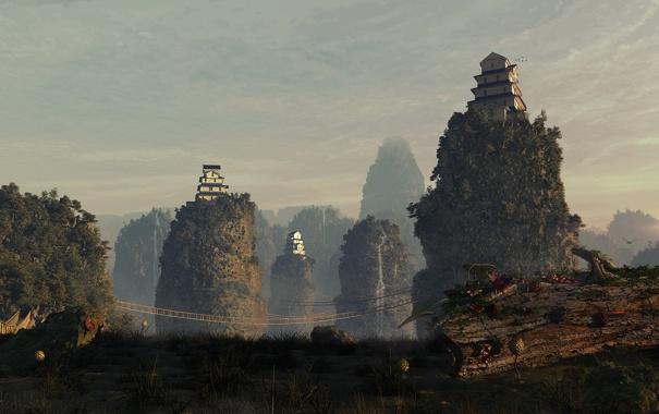 Фото обои небо, горы, мост, дома, бревно, подвесной
