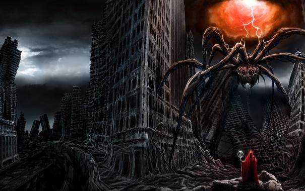 Фото обои город, молния, человек, монстр, паук, арт, посох