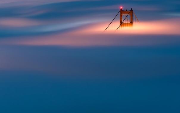 Фото обои мост, туман, опора, Сан-Франциско, Золотые Ворота, США
