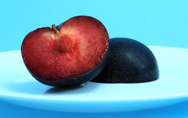 Фото обои еда, минимализм, в разрезе, слива