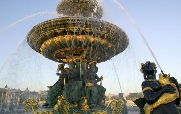 Фото обои золото, Франция, Париж, Фонтан, Paris, France, скульптуры