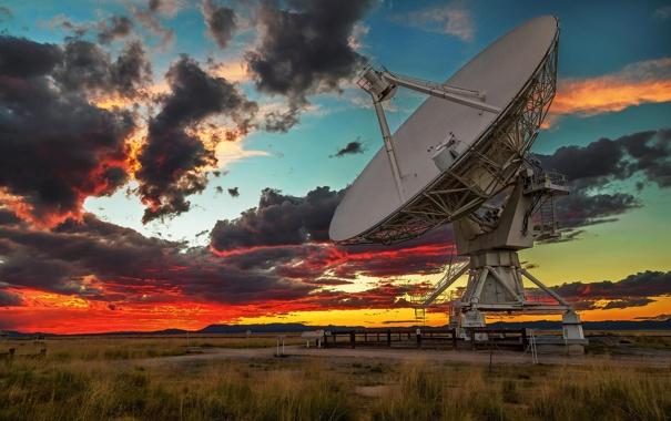 Фото обои пейзаж, закат, сумерки, радиотелескоп