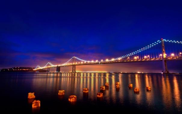 Фото обои мост, огни, Калифорния, Сан-Франциско, California, San Francisco
