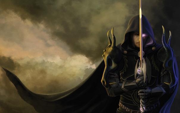 Фото обои глаз, оружие, магия, меч, воин, капюшон, черепа