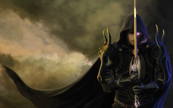 Фото обои The Guardian Legend, меч, мужчина, concept art, воин, магия, глаз