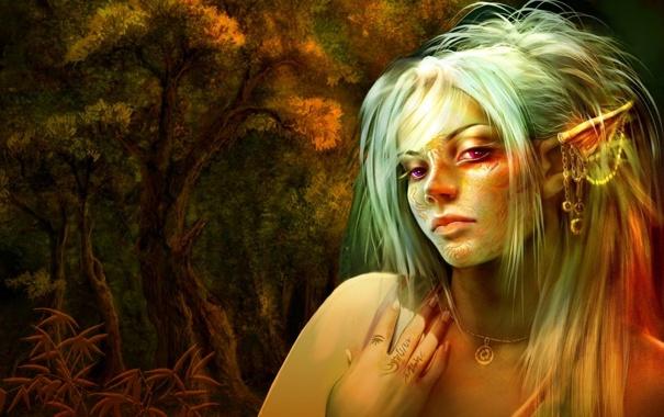Фото обои лес, взгляд, девушка, украшения, деревья, волосы, эльф