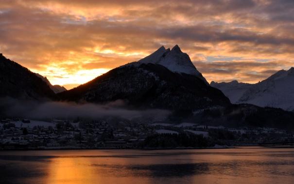 Фото обои пейзаж, закат, горы, река