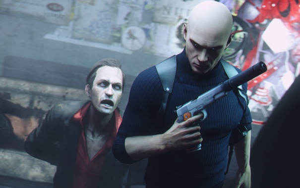 Фото обои пистолет, лысый, мужчина, hitman, киллер, убийца, глушитель