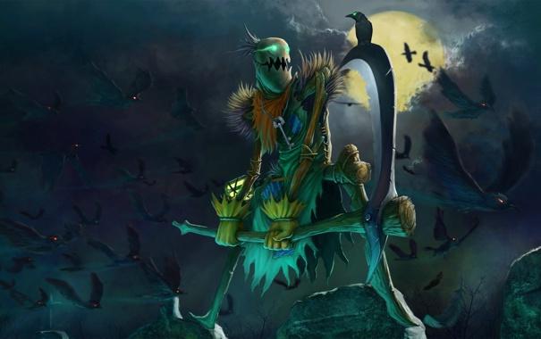 Фото обои птицы, ночь, магия, луна, существо, ключ, вороны