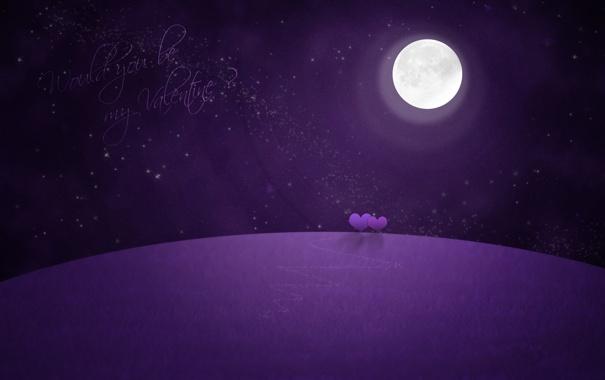 Фото обои луна, романтика, звёзды, сердца, valentine, фиолетовая планета