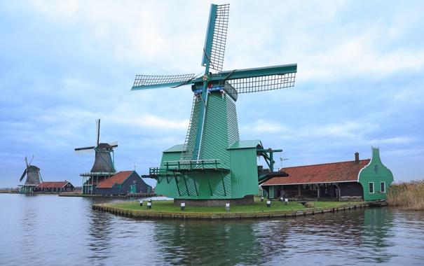 Фото обои вода, канал, Нидерланды, ветряная мельница
