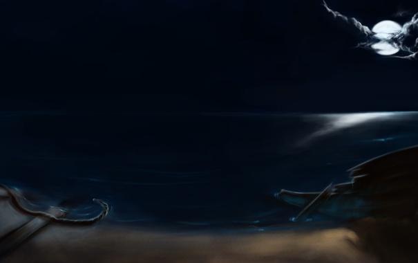 Фото обои море, ночь, тучи, луна, лодка, крушение, остов