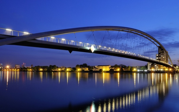 Фото обои свет, мост, город, огни, отражение, конструкция, вечер