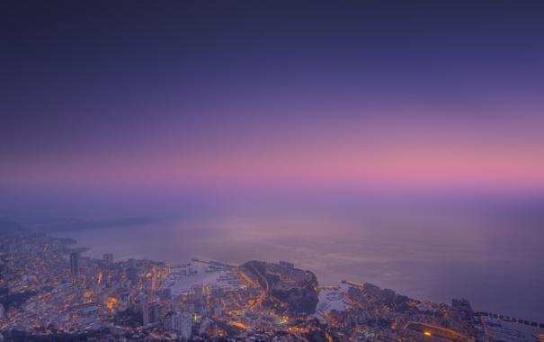 Фото обои огни, берег, панорама