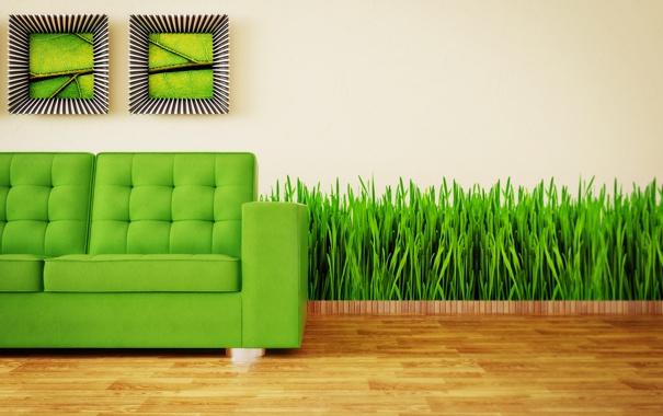 Фото обои зеленый, диван, минимализм