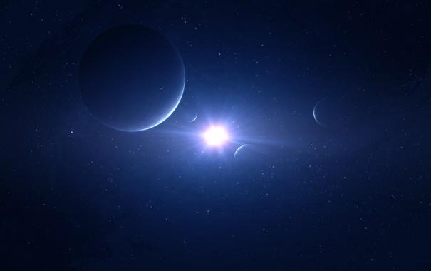 Фото обои свет, звезда, планеты, спутники, бесконечность