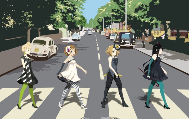 Фото обои k-on, beatles, abbey road