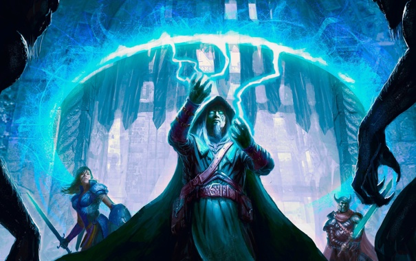 Фото обои девушка, круг, меч, воин, фэнтези, арт, маг