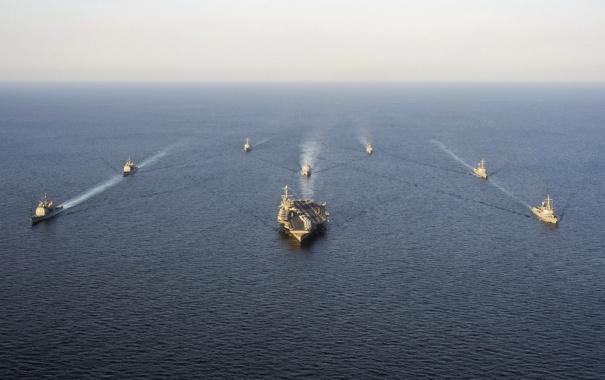 Фото обои George Washington, underway, Carrier Strike Group, formation