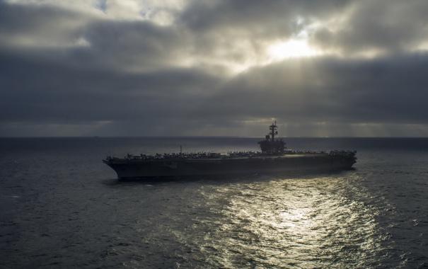 Фото обои ночь, оружие, корабль, Aircraft carrier USS Carl Vinson (CVN 70)
