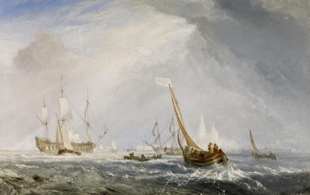Фото обои парус, морской пейзаж, Уильям Тёрнер, Antwerp - Van Goyen Looking Out for a Subject, море, ...