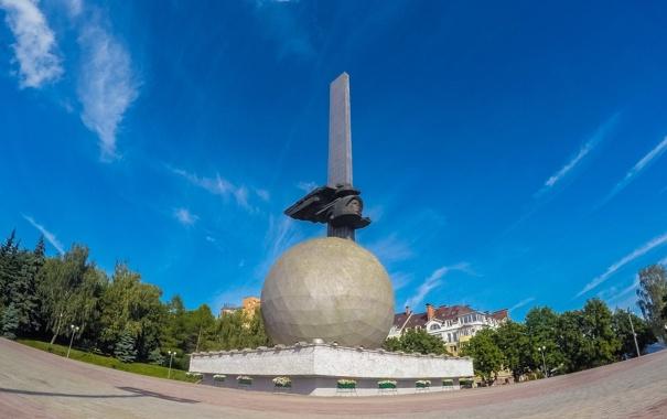 Фото обои город, шар, памятник, Россия, Russia, Гагарин, Калуга