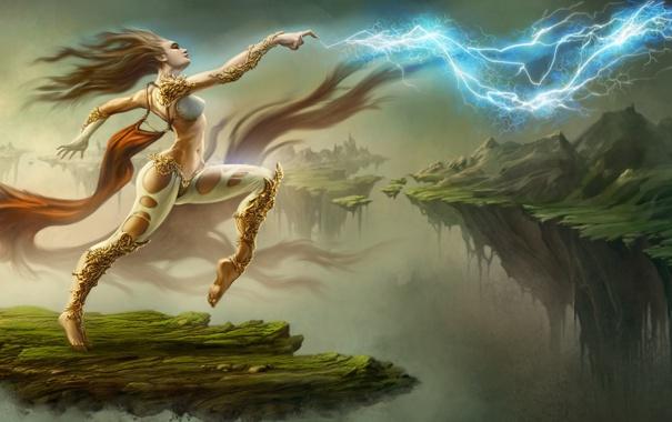 Фото обои девушка, скалы, магия, молнии, танец, арт, летающие