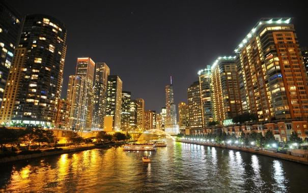 Фото обои ночь, город, огни, река, небоскребы, Чикаго, Иллиноис