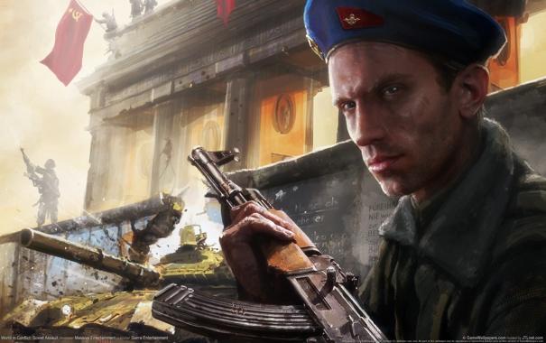 Фото обои война, флаг, ссср, солдат, танк, World in Conflict: Soviet Assault