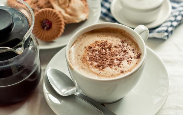 Обои картинки фото завтрак, кофе, латте, печенье